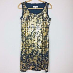 Michael Kors Sz Small Black Gold Party Dress